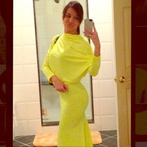 Neon yellow long super stretchy open back dress